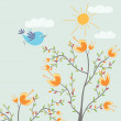 Cute flowers and bird — Stock Vector #4111856