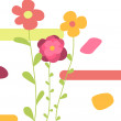 Vector de stock : Three abstract flowers