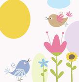 Lindas flores y aves — Vector de stock