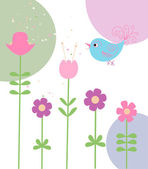 Cute flowers and bird — Vecteur