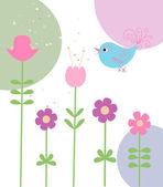 Słodkie kwiaty i ptak — Wektor stockowy