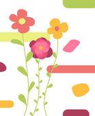 Tre fiori astratti — Vettoriale Stock