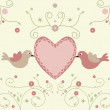 Vector de stock : Cute flowers and bird