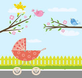 婴儿推车 — 图库矢量图片
