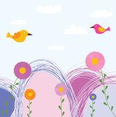 Uccelli e fiori carini — Vettoriale Stock