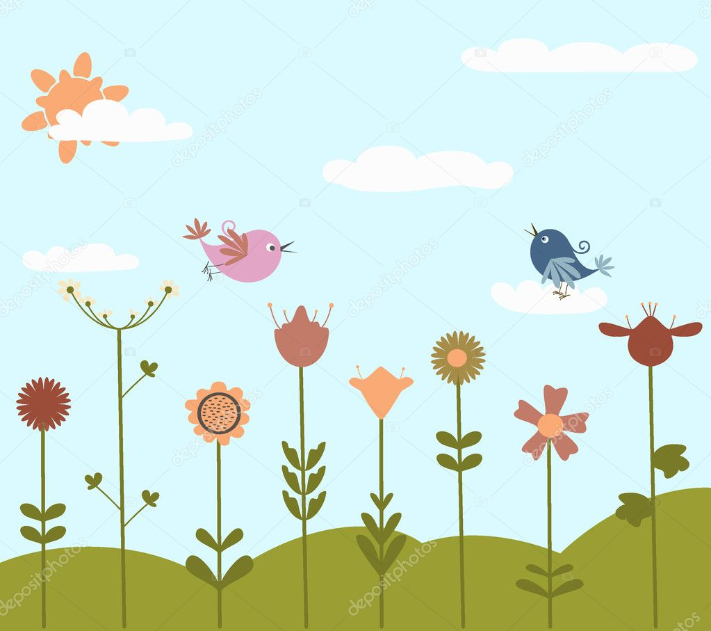 Cute flowers and bird  Stock Vector #4235885