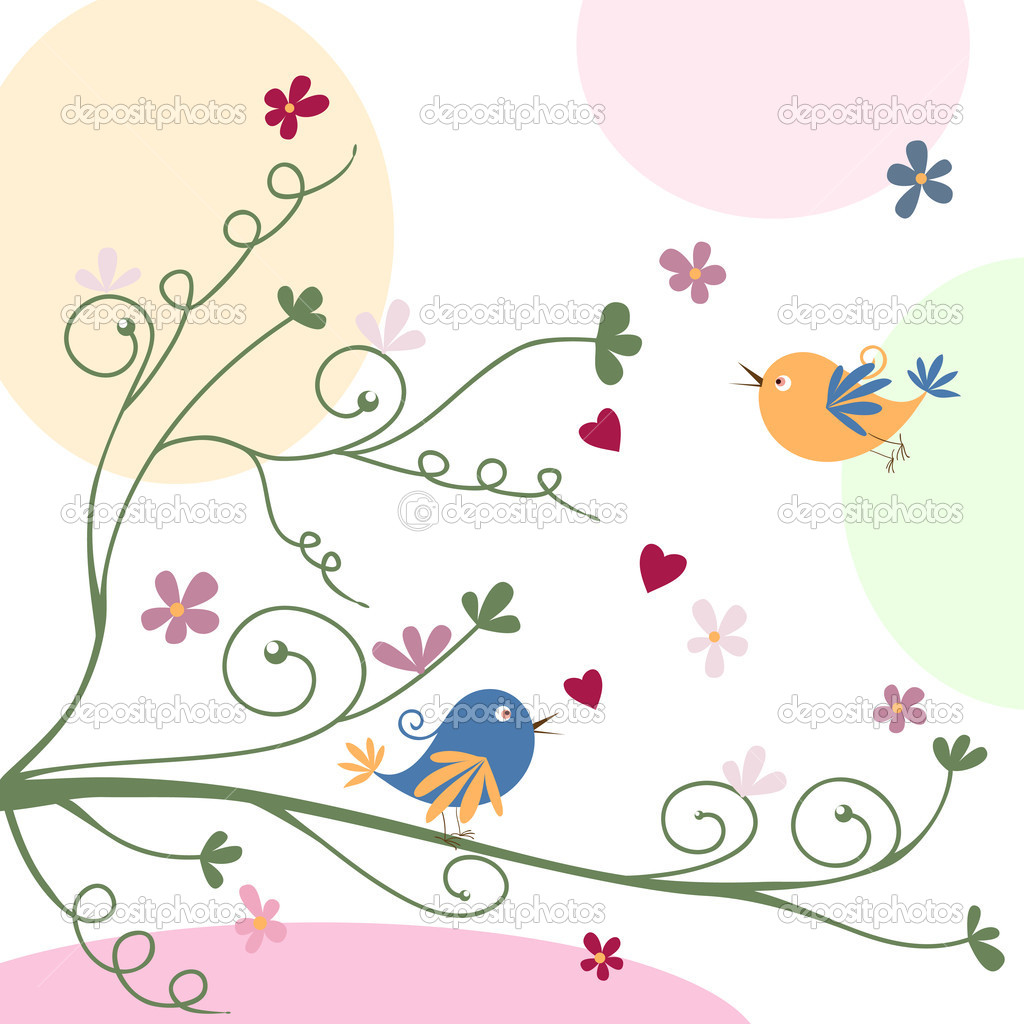 Greeting card with birds — Stock Vector #4399864