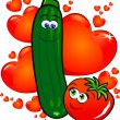Vegetables in love — Stock Vector