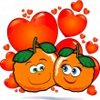 Oranges in love — Stock Vector