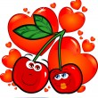 Cherries in love — Stockvectorbeeld
