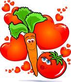 Vegetables in love — Stock Vector