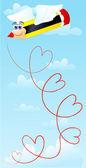 Lápis de amor — Vetor de Stock