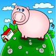 Funny pig - Stock Vector