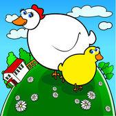 Pollo gracioso con chica — Vector de stock