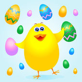 Chick and Easter eggs — Stock Vector