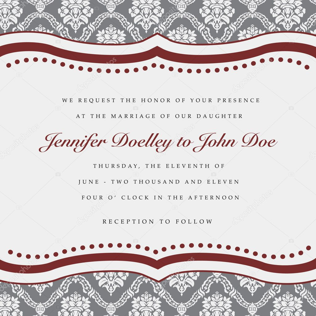 Vector wedding frame. Easy to edit. Perfect for invitations or announcements.  Stock Vector #4577421