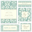 Vector Pastel Florals Wedding Frame Set — Stock Vector