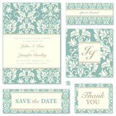 Vector Pastel Florals Wedding Frame Set — Vecteur