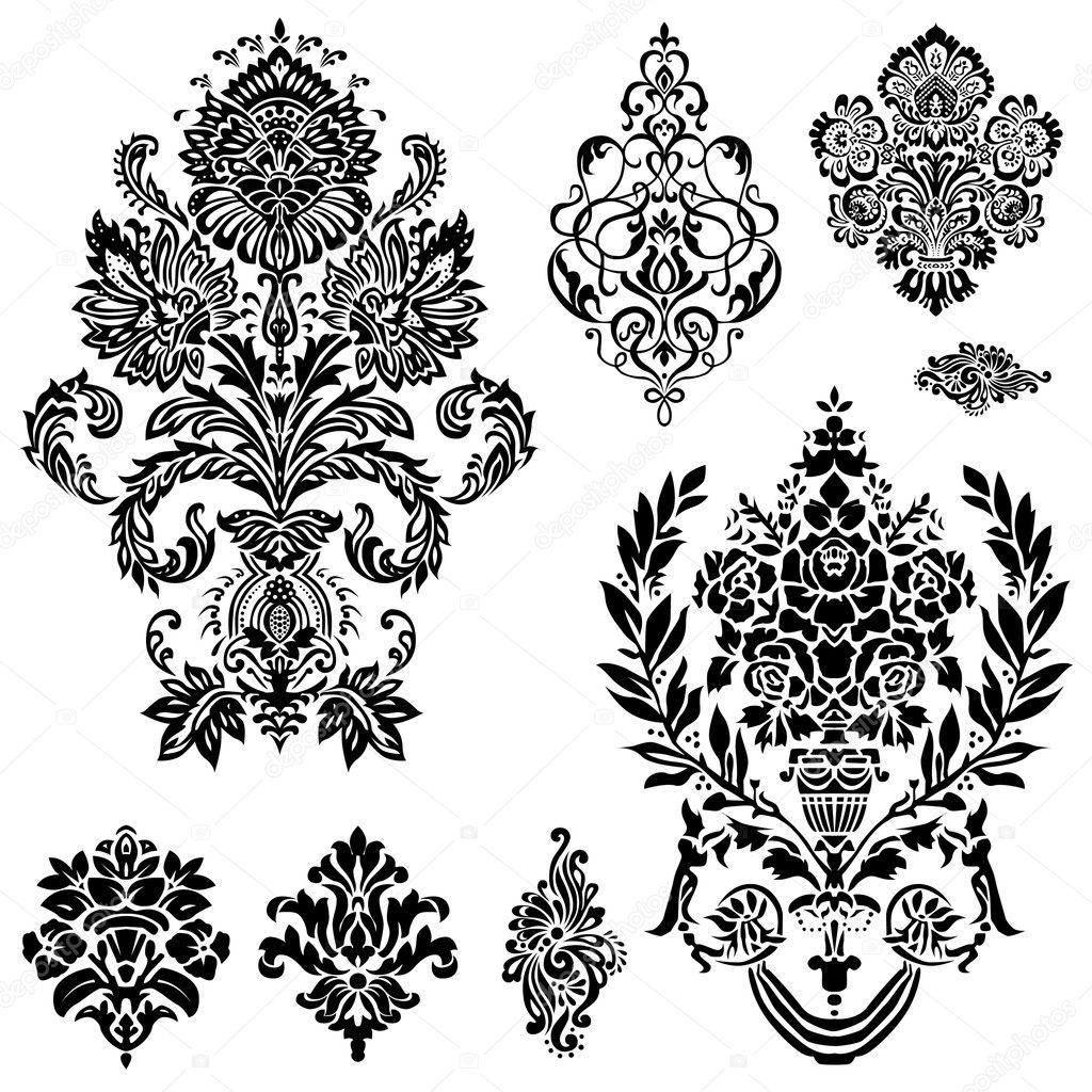 Set of ornamental vector damask illustrations. Easy to edit. Perfect for invitations or announcements. — Imagen vectorial #4632688