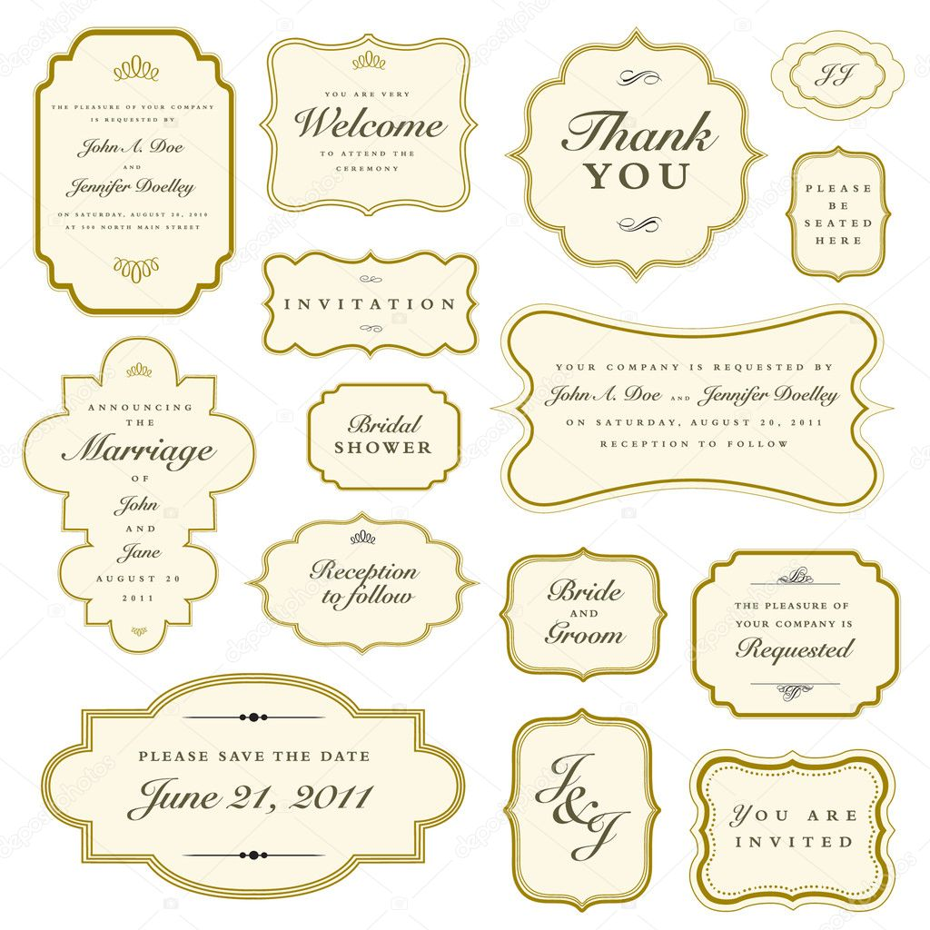 Set of vector ornate gold frames. Easy to edit. Perfect for invitations and announcements. — Stock Vector #4654740