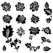 Vector Icon Set of Flowers and Florals — Stock Vector