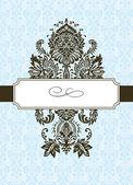 Vector damast ornament en frame — Stockvector