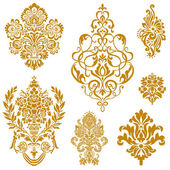 Conjunto de vectores oro ornamento damasco — Vector de stock