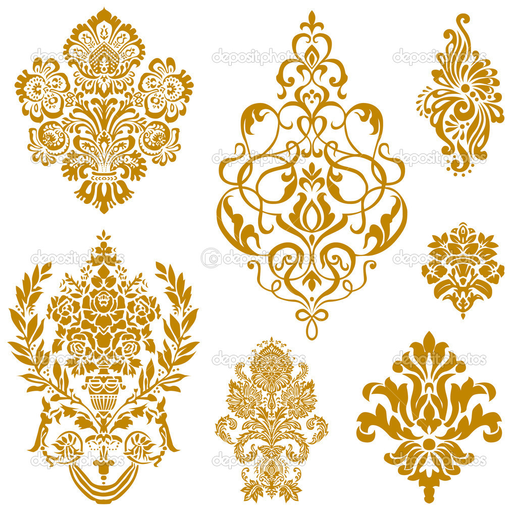 Vector Gold Damask Ornament Set Stock Vector
