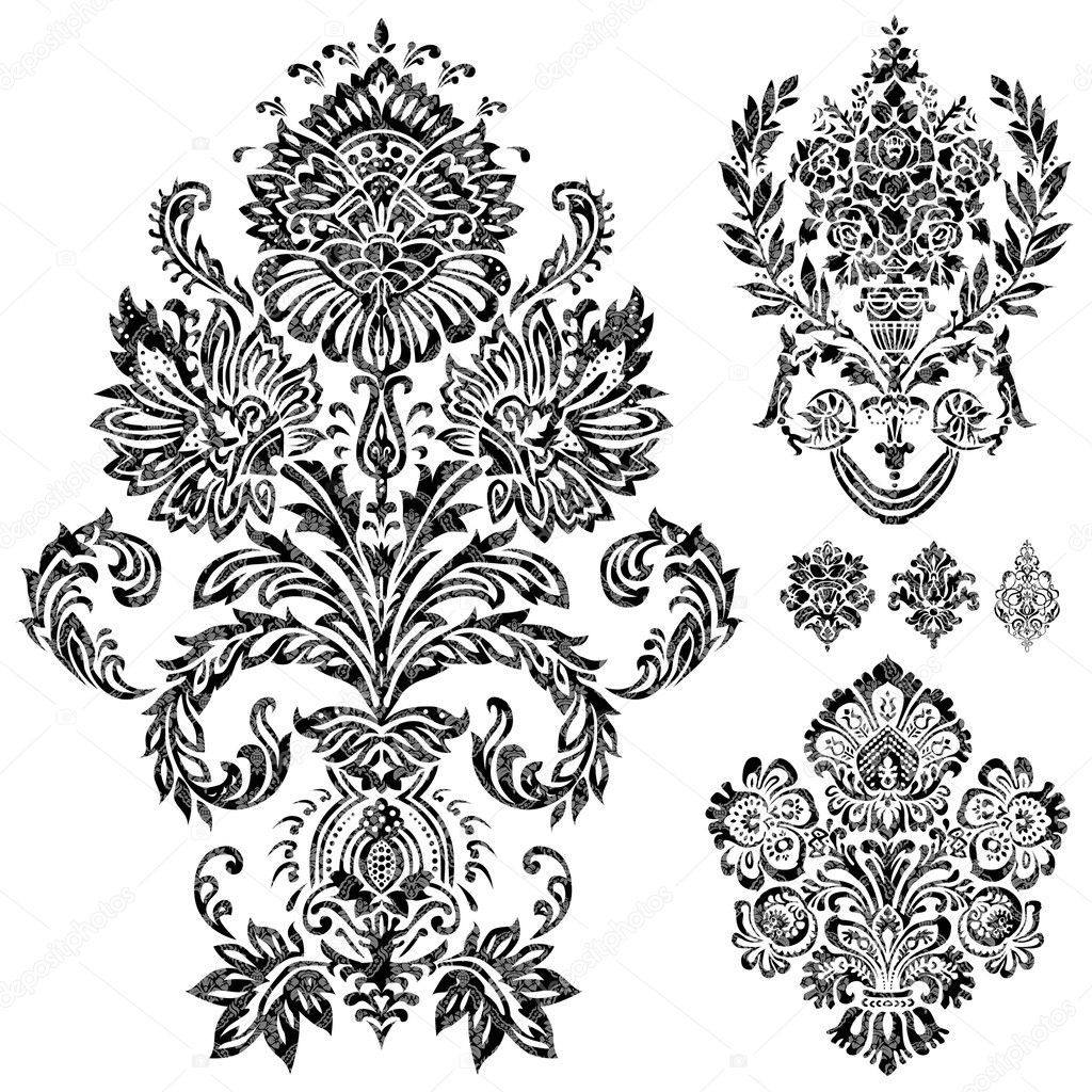 Set of vector damask ornaments. Easy to edit. Perfect for invitations or announcements. — Stock Vector #4774312