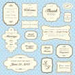 Vector Blue Pattern and Frame Set — Stockvektor