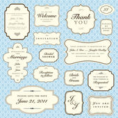 Vector Blue Pattern and Frame Set — Stok Vektör