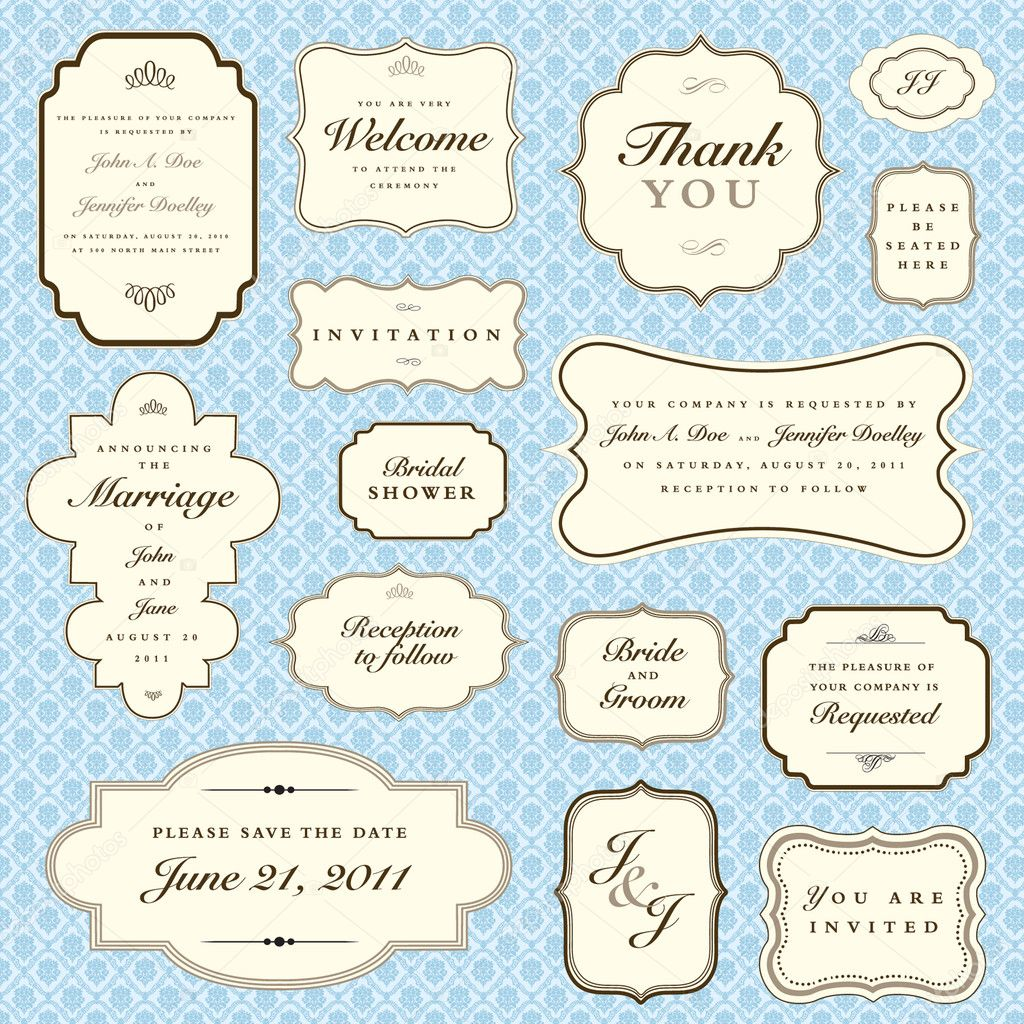 Set of ornate vector frames. Easy to edit. Perfect for invitations or announcements.  Stockvectorbeeld #4853747