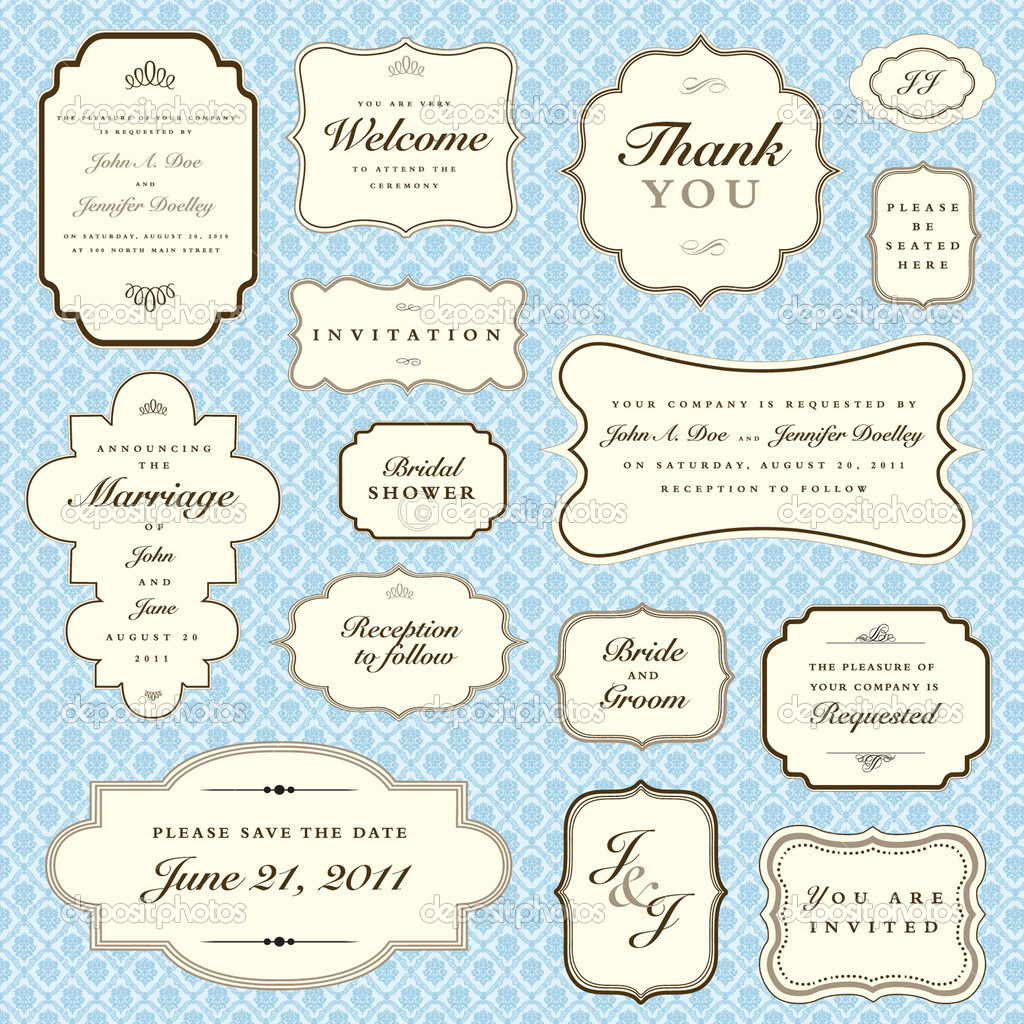 Set of ornate vector frames. Easy to edit. Perfect for invitations or announcements. — Imagen vectorial #4853747