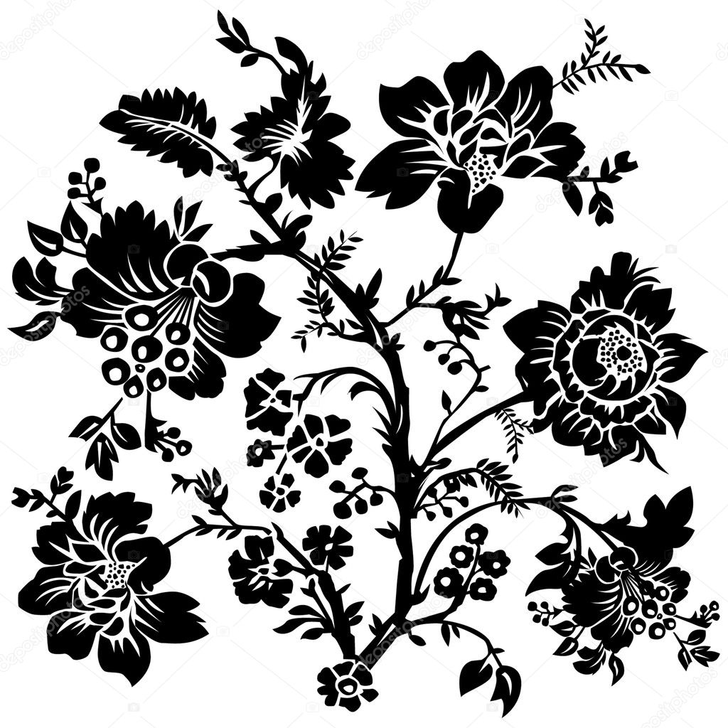 Vector Floral and Rose Ornament - Stock Illustration