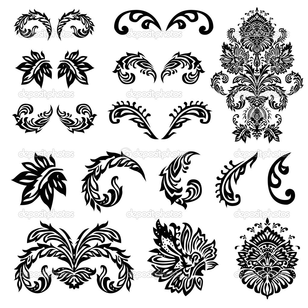 Set of vector decorative ornaments. Easy to edit. Perfect for any ornate designs. — Stock Vector #5036030