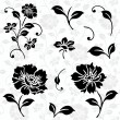 Vector Floral Icons and Seamless Pattern — Vector de stock