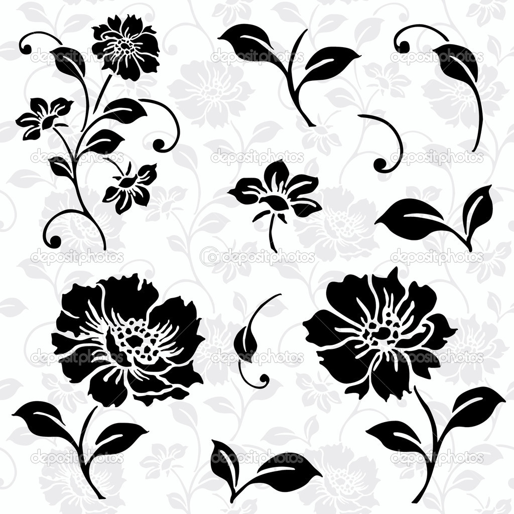 Vector floral icon set and matching pattern. Easy to edit. Perfect for invitations or announcements. ector Floral Icons and Seamless Pattern — Stock Vector #5061354