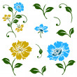 Stok Vektör: Vector Blue and Yellow Floral Icons