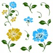 Vector Blue and Yellow Floral Icons — ストックベクタ