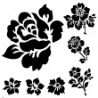 vector rose en bloemen pictogrammen — Stockvector