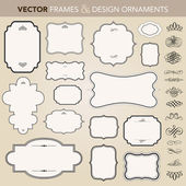 Vector Ornate Frame and Ornament Set — Stock Vector