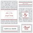Vector Ornate Wedding Frame Set with Red Accents — Stock Vector