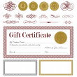 Vector Burgundy Gift Certificate Set - Stock Vector