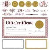 Vector Burgundy Gift Certificate Set — Stock Vector