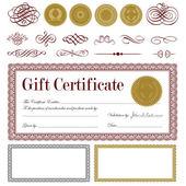 Vector Burgundy Gift Certificate Set — Stock Vector