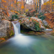 Mountain river in autumn forest - Stock Photo