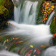 Small waterfall among green stones - Stock Photo