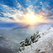 Winter evening in mountains — Foto Stock