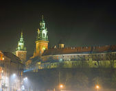 Zamek na wawelu w nocy — Zdjęcie stockowe
