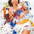 Girl smeared in paint — Stock Photo #3953786